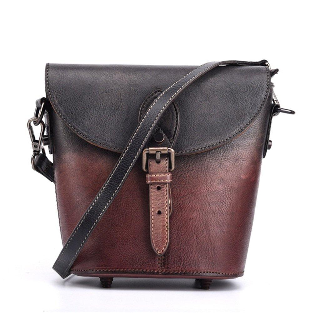 婦人用バッグ本物 レトロスタイルのレディースレザーバケットバッグの最初の層を拭く斜めの小さなハンドバッグファッション ファッション (色 : 紫の) B07MQRF66T 紫の