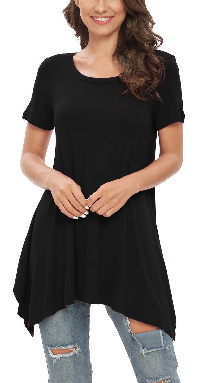 BISHUIGE Womens Summer Short Sleeve Irregular Hem Loose Tunic Tops Flowy Blouses Shirt
