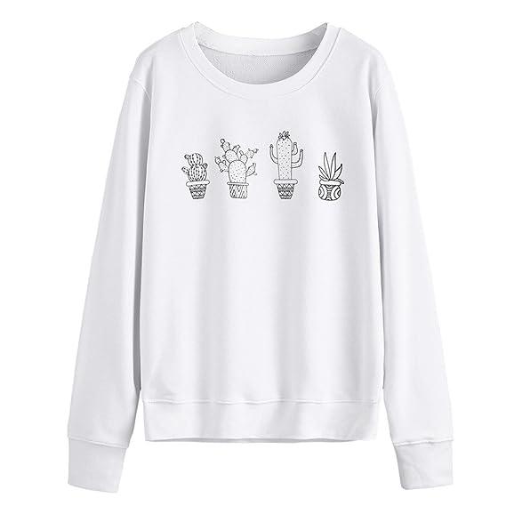 Naturazy Sudaderas Mujer Camisa Blusa Elegante Camiseta T-Shirt Sudadera con Capucha Y Estampado De
