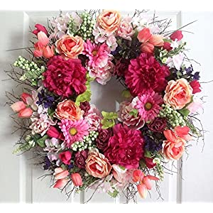 Summer wreath for front door, Roses and Peonies, wedding wreath, bridal 51