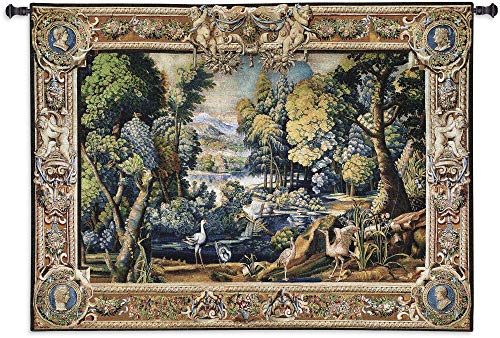 15th Century Landscape Wool and Cotton | Woven Tapestry Wall Art Hanging | Abundant Medieval Forest with Animals | 100% Cotton USA Size 71x53