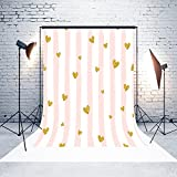 5x7ft Microfiber White Curtain Pink Stripes Gold Hearts Wedding Baby Birthday Party Decorations Photo Booth Background Seamless Collapsible Washable and No Creases Photography Backdrop