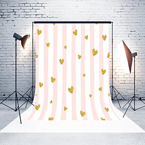 5ft(W)x7(H) Mother`s Day Backgrounds White Curtain Pink Stripes Gold Hearts Microfiber Wedding Baby Shower Photo Backdrop Studio Props