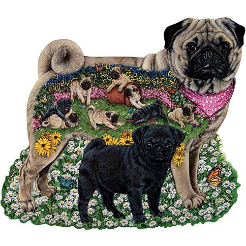 Bits and Pieces - 300 Piece Shaped Puzzle - Playful Pugs, Pug Dog Puppies - by Artist Marilyn Barkhouse - 300 pc Jigsaw