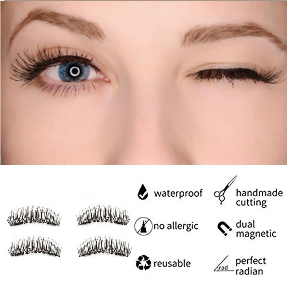Fantany 3d Magnetic False Eyelashes No Gule Required Reusable Hand