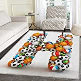 Letter H Area Silky Smooth Rugs Letter H Stacked from Gaming Balls Alphabet of Sports Theme Competition Activity Floor Mat Pattern 2'x3' Multicolor