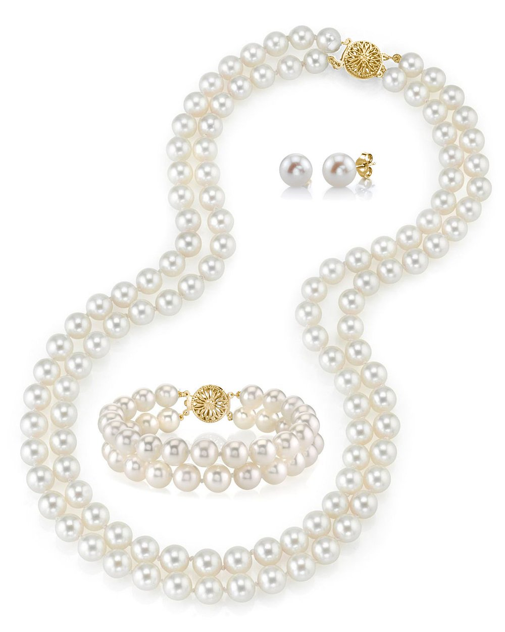 14K Gold White Freshwater Double Cultured Pearl Necklace, Bracelet & Earrings Set - AAAA Quality, 19-20''