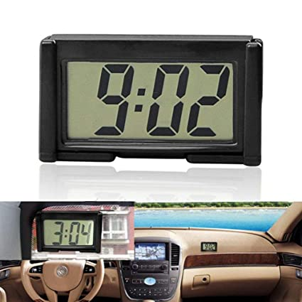 okdeal - Reloj Digital para el Interior del Coche, con Pantalla LCD, Soporte Autoadhesivo