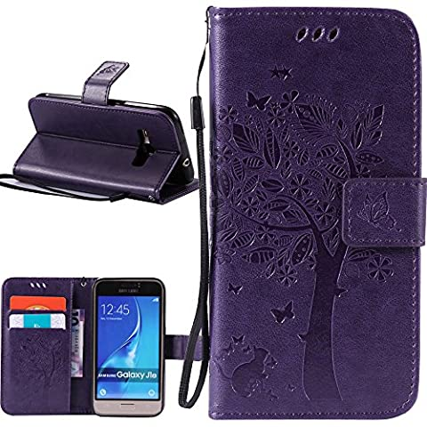 J1 2016 Case, Galaxy Amp 2 Case, Galaxy Express 3 Case, Harryshell(TM) Cave Tree Cat Wallet Flip Leather Case Cover with Card Slot & Wrist Strap for Samsung Galaxy J1 2016 / Amp 2 / Express 3 (Galaxy 3 Phone Flip Cases)