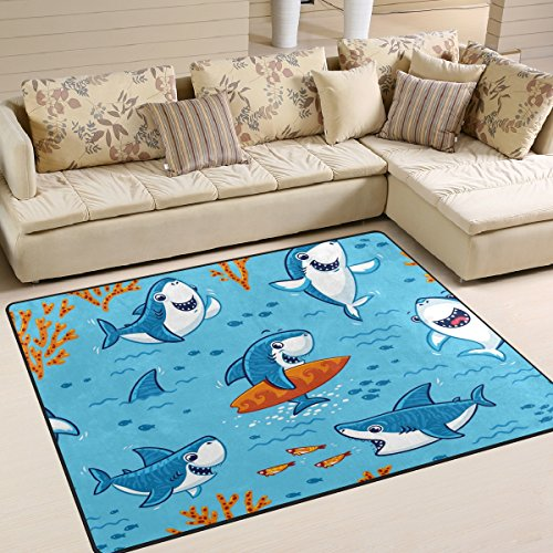 ALAZA Underwater Cute Cartoon Shark Area Rug Rugs Mat for Living Room Bedroom 7'x5′ For Sale