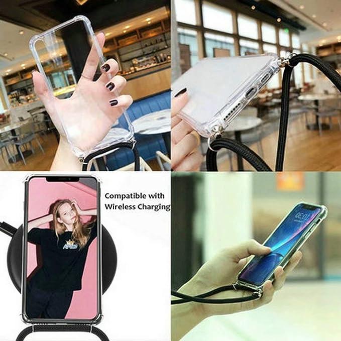 JMstore Funda Compatible con Samsung Galaxy M20 Transparente TPU PC Carcasa.movil con Colgante//Cadena.Protectora ponible Cord/ón Cruzado