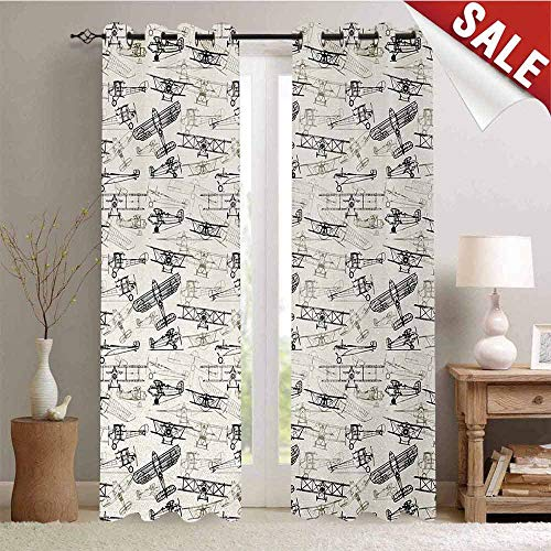 Airplane Blackout Draperies for Bedroom Old Fashioned Airplanes Collection Hand Drawn Style Vintage Transportation Thermal Insulating Blackout Curtain W72 x L96 Inch Olive Green Tan