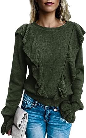 Imily Bela Women's Crew Rib Ruffle Front Puff Long Sleeve Blouse Sweater Crop T Shirts