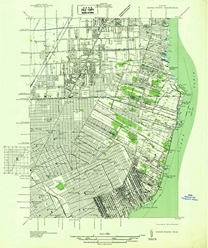 Michigan Maps - 1936 Grosse Pointe, MI USGS Historical Topographic Map - Cartography Wall Art - 44in x ()