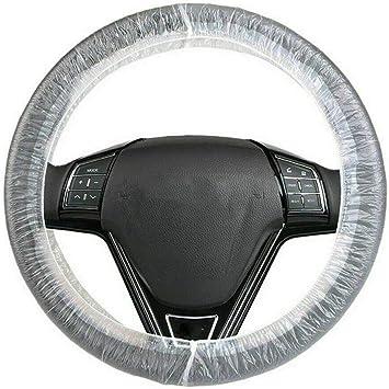 Wakauto 100 Stück Klare Weiße Kunststoff Einweg Lenkradabdeckung Für Autos Universeller Lenkradschutz Lenkradhülle Lenkrad Abdeckung Aus Kunststoff Anti Staub Auto
