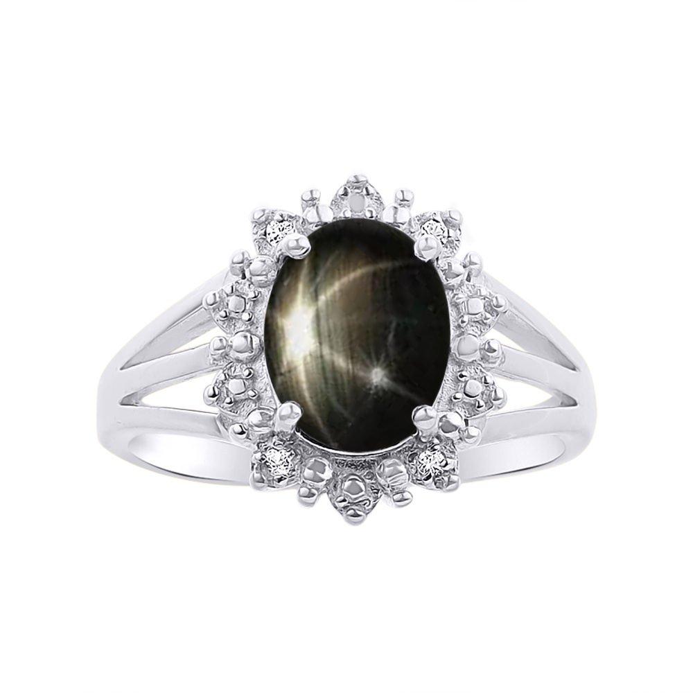 Princess Diana Inspired Halo Diamond & Black Star Sapphire Ring Set In 14K White Gold