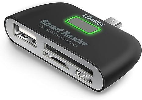 Micro Adapter HUB 4-in-1 Card Reader USB//TF//SD OTG For Sony Xperia XA2