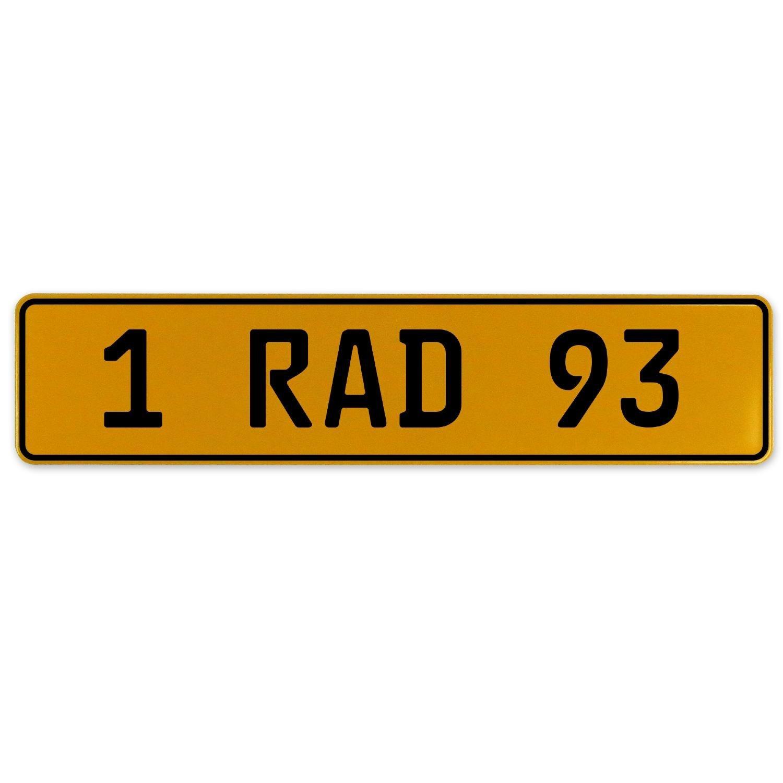 Vintage Parts 559145 Yellow Stamped Aluminum European Plate 1 RAD 93