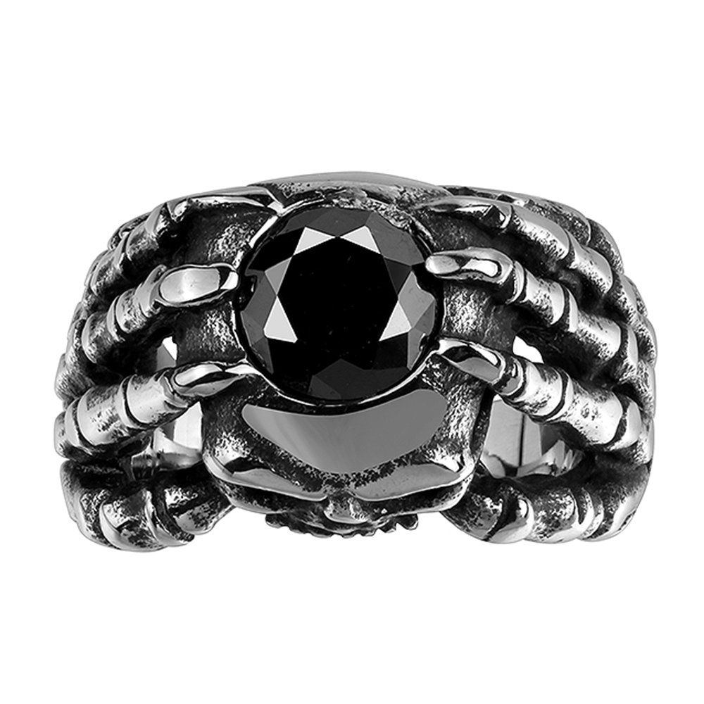 BLOOMCHARM Skull Rings for Men Boys Jewelry Punk Head Stainless Steel Bands Gifts Presents
