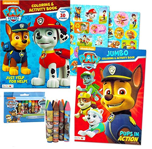 Paw Patrol Coloring Book Super Set -- 2 Coloring and Activity Books, Over 30 Stickers and Jumbo Toddler Paw Patrol Crayons