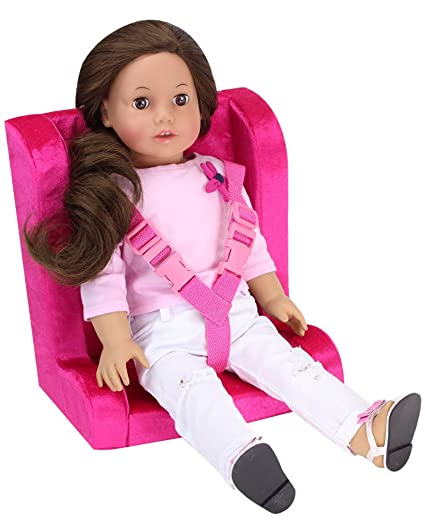 Hot Pink Doll Car Seat For 18 Inch Dolls