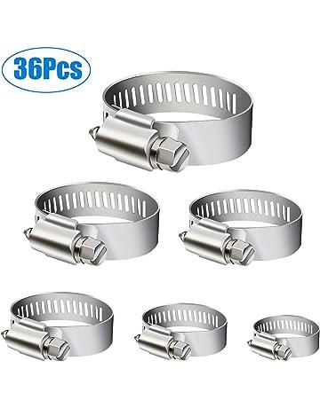 WinWoner - Abrazaderas de manguera de acero inoxidable, 36 unidades, ajustables, 6 –