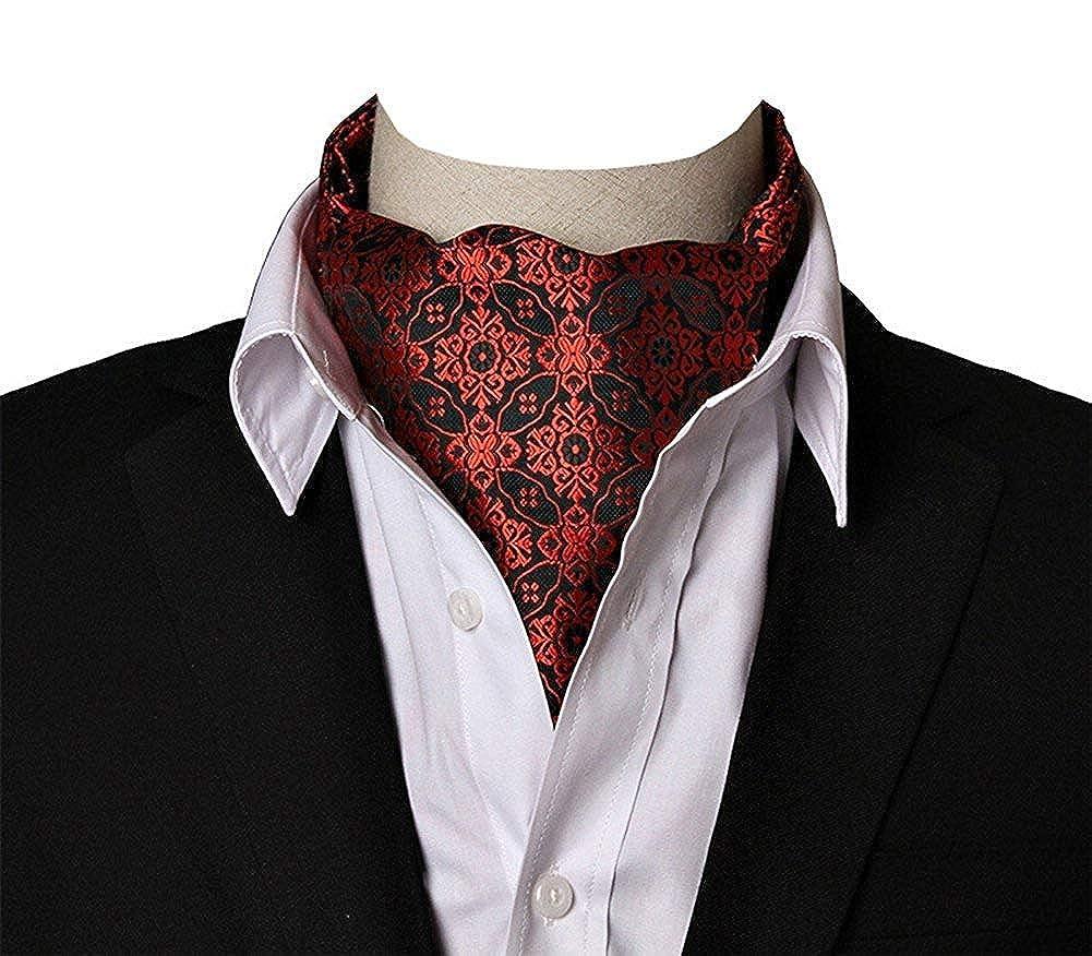 ShuangDeng Mens Paisley Polka Dot Ascot Ties Formal Tie Cravat Ascot Set