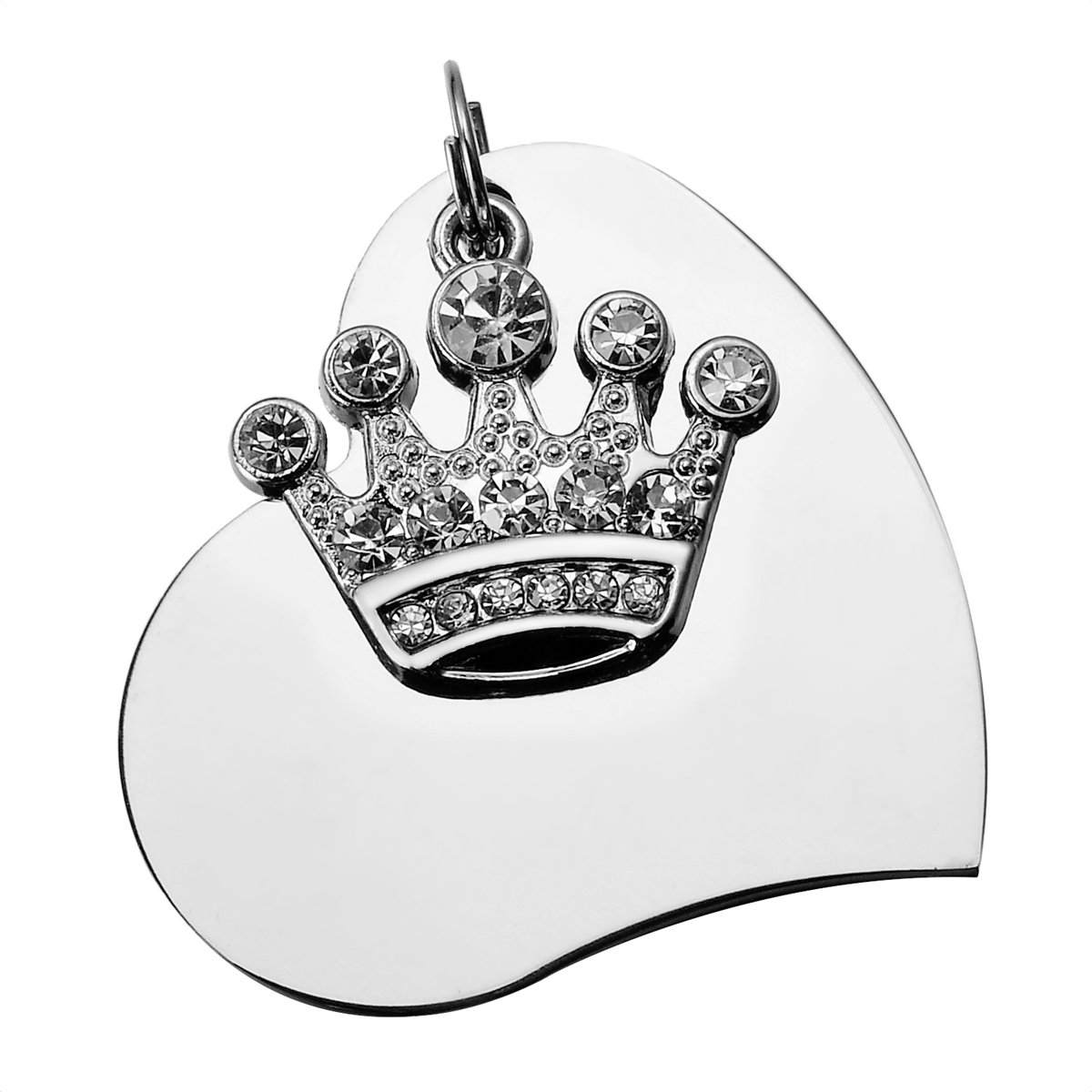 HooAMI Stainless Steel Pet Id Tags for Dogs & Cats with Clear Crystal Imperial Crown Charm