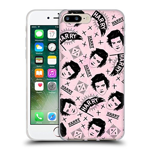 Official One Direction Harry Styles Pink Doodle Face Patterns Soft Gel Case for Apple iPhone 7 Plus / 8 Plus