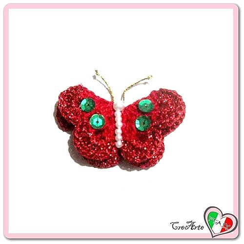 Mariposa roja para aplicaciones, broche o imán de ganchillo ...
