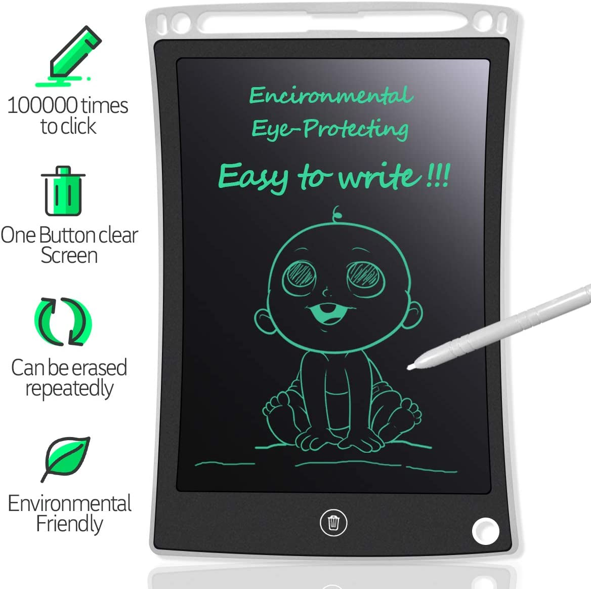 Ultra Thin LCD Writing PAD 8.5 INCH Tablet White