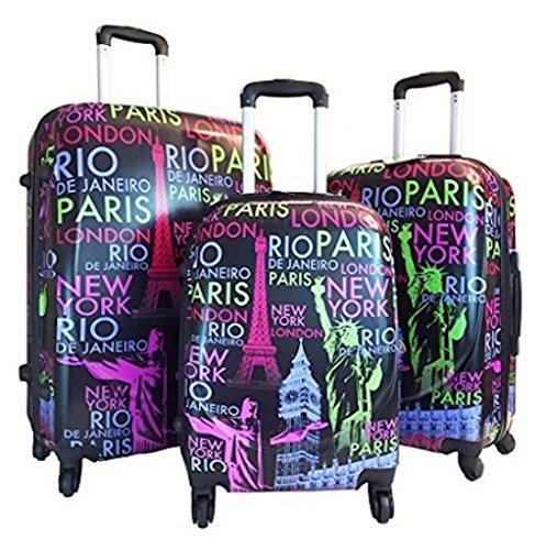 3 Piece Hardside Hard Case Printed Travel 4 Wheels Spinner Expandable Luggage (3 Piece Print Luggage Set)