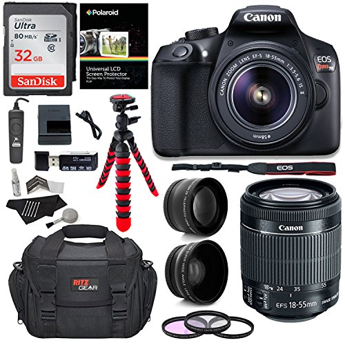 Canon T6 Digital Rebel SLR Camera Kit with EF-S 18-55mm f/3.5-5.6 is II Lens, 32GB Memory Card, Camera Bag and Premium Accessory Bundle