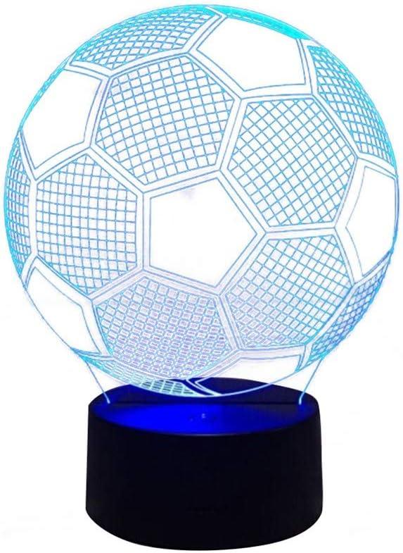 Visual 3D Led Lampara De Noche De Fútbol Usb Touch Sensor De Luz ...
