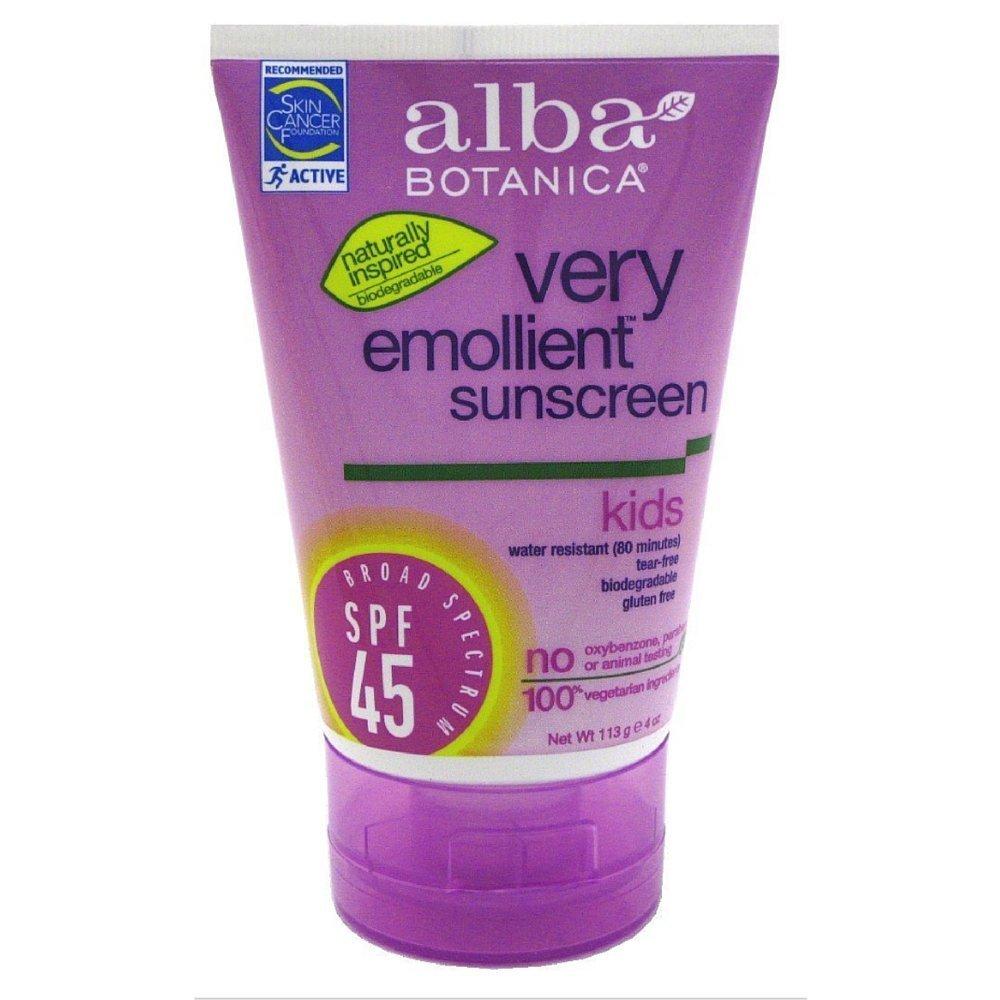 Lot of 8 Alba Botanica Very Emollient, Kids Sunscreen SPF 45, 4 Ounce