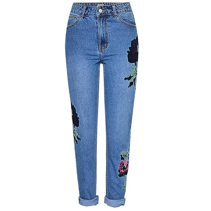 FuweiEncore Pantalones Vaqueros Bordados Florales Pantalones ...