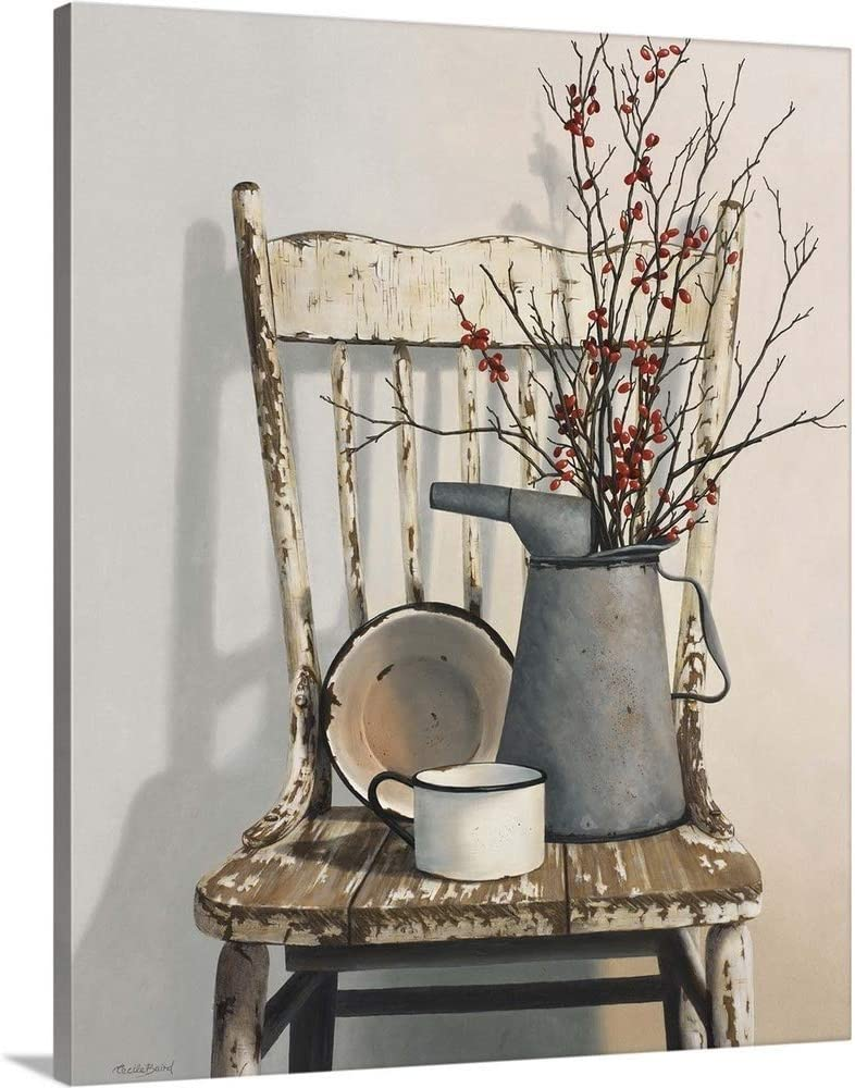 Watering Can On Chair Canvas Wall Art Print, 16