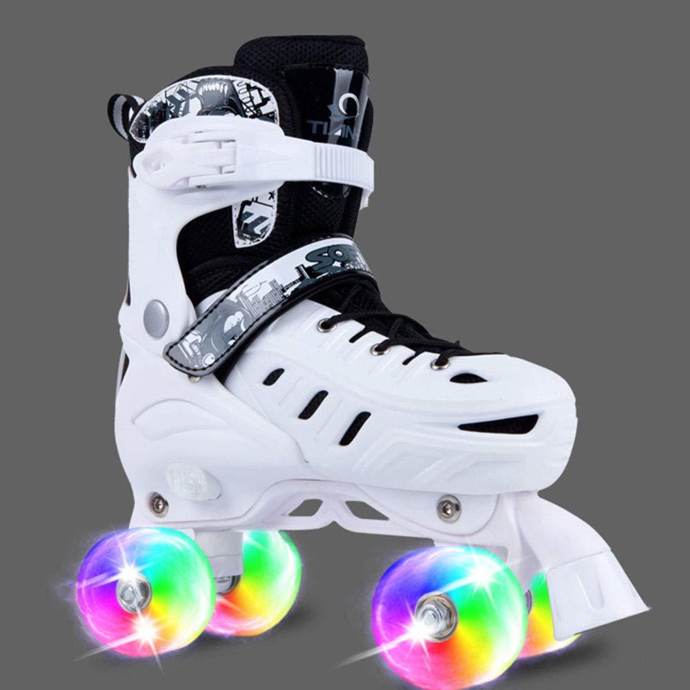 スケート靴、スピードスケート靴レース複列スケート初心者ローラーシューズファンシーアダルトローラーシューズ4ラウンド 白い Large