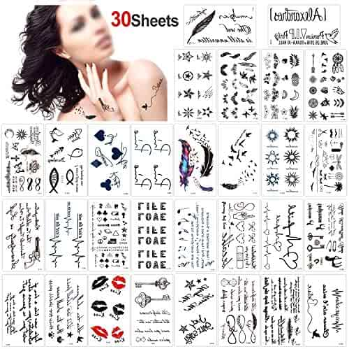 Konsait Temporary Tattoos for Adult Men Women Kids(30 Sheets), Waterproof Temporary Tattoo Fake Tattoos Body Art Sticker Hand Neck Wrist Cover Up Set