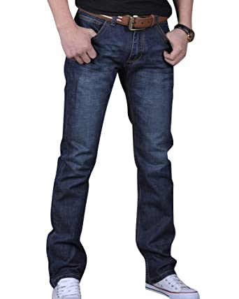 Anyu Vaqueros Recto Slim Denim Pantalones Jeans Elasticos para Hombre Negro