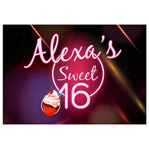 Sweet Sixteen Birthday Banner Personalized 16 Party Decoration Backdrop