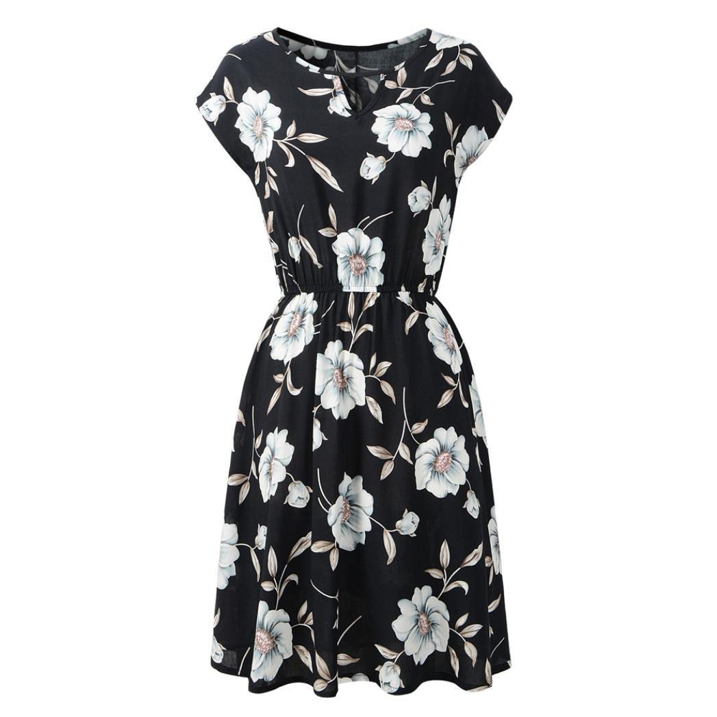 543f4481efc100 Amphia Damen Sommerkleid Kurzarm Casual Lose T-Shirt Mini Kleid Rundhals  mit Taschen  Amazon.de  Bekleidung