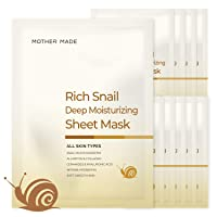 [MOTHER MADE] Rich Snail & Marine Collagen Deep Moisturizing Facial Sheet Mask, Set of 10 Masks | Hydrating & Anti Aging Korean Skin Care | Solution for Dry, Acne & Sensitive Skin | Cruelty-Free, Unscented, Natural & Clean Skincare