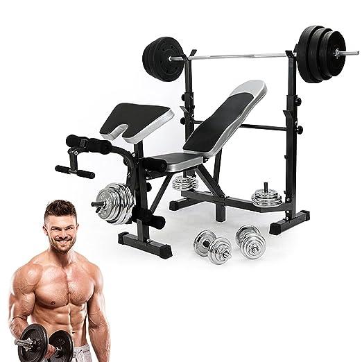 blackpoolal todos en un soporte de fitness peso banco abs Multi gimnasio Entrenamiento de mancuernas (Barra de piernas Preacher Curl ejercicio equipo: ...