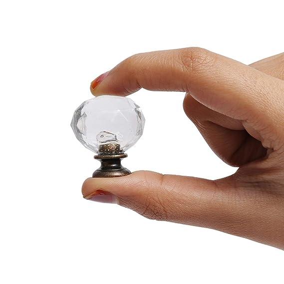16 Piezas Pomo Transparente para Cajón Gabinete con Base Latón Color Bronce y Tornillos por Kurtzy - Pomo Efecto Cristal Diamante para Alacena, Baño, ...