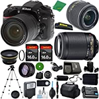 ZeeTech Ultimate Bundle for D7200 DSLR Body, 18-55mm VR Lens, 55-200mm f4-5.6G VR, 2pcs 16GB ZeeTech Memory, Camera Case, Wide Angle , Telephoto, Flash, Battery, Charger