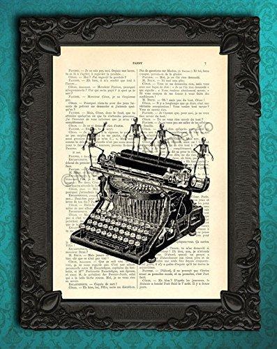 Typewriter dancing skeletons art print, gothic halloween artwork, black white decorations on book page, spooky art print, human bones on antique typing machine decor