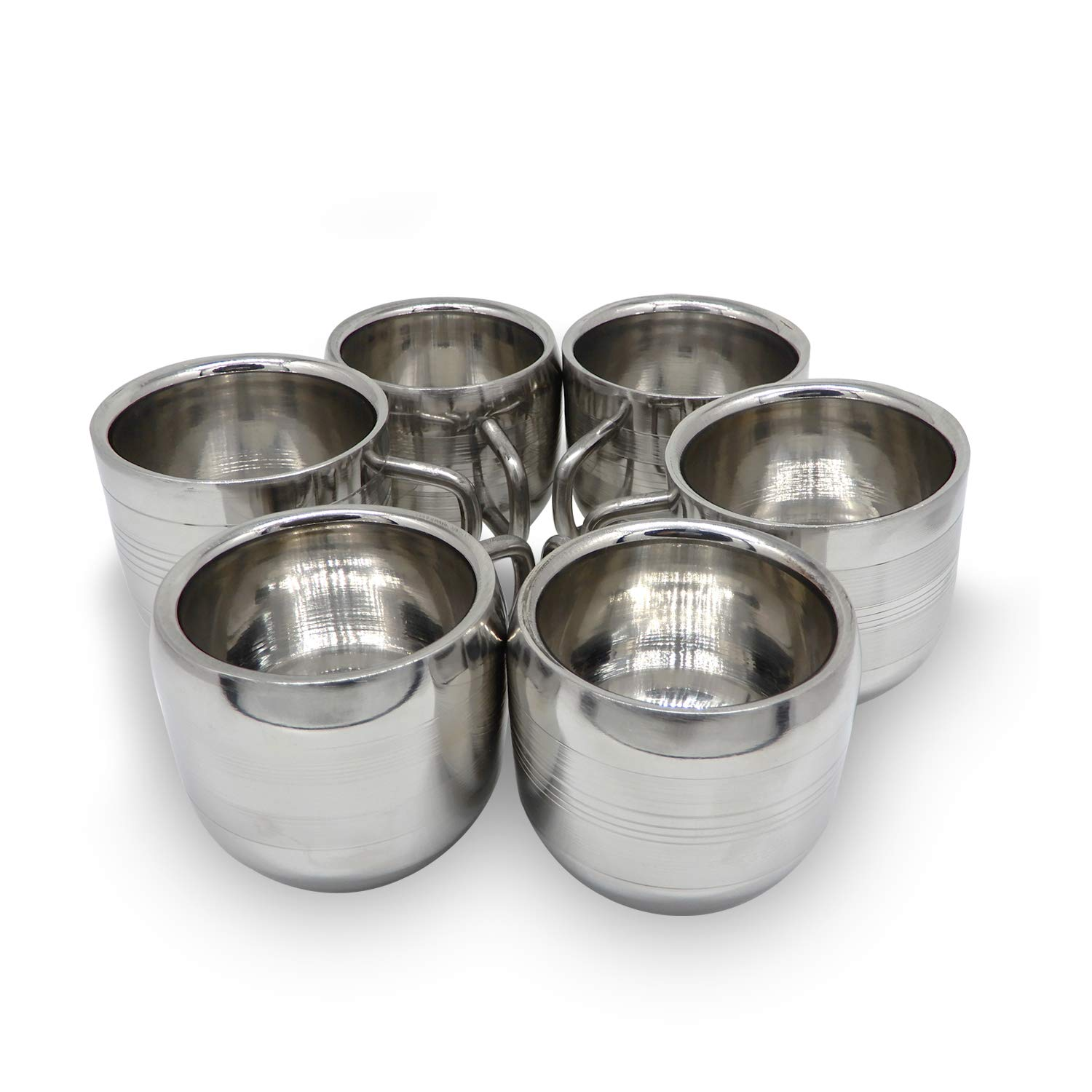 IndiaBigShop Coffee Cup Espresso Cup Mug Set of 6 Double Wall Stainless Steel Tea Cups, Reusable & Stackable Dishwasher Safe