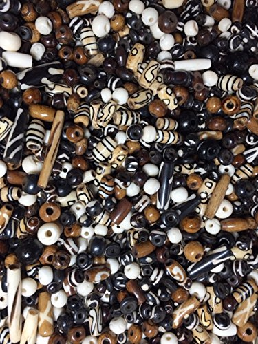 - 40-45 Pieces (75 Grams) 6mm to 18mm, Natural Buffalo Bone Beads, Native American Art Work, Etched Beads Black, Brown, Free Shipping in USA