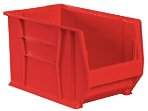 Akro-Mils 30283 20-Inch D by 18-Inch W by 12-Inch H Super Size Plastic Stacking Storage Akro Bin, Red